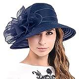 Ascot Kentucky Derby Bowler Church Cloche Hat Bowknot Organza Bridal Dress Cap S051 (Navy)
