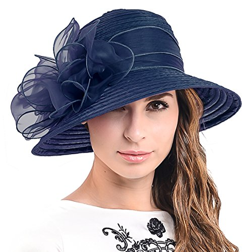 Cloche Oaks Church Dress Bowler Derby Wedding Hat Party S015 (1 Bow-Navy)