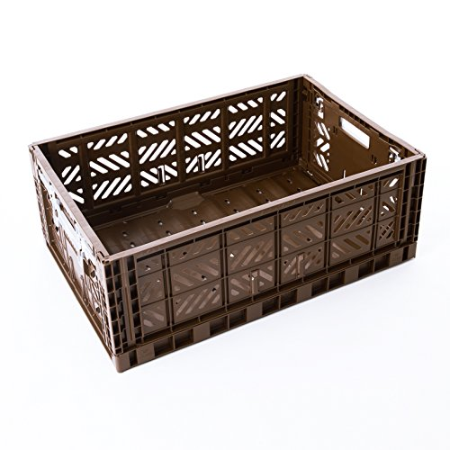 Price comparison product image AY-KASA Collapsible Storage Bin Container Basket Tote ,  Folding Basket CRATE Container : Storage ,  Kitchen ,  Houseware Utility Basket Tote Crate = Maxi-BOX COMFORT LOCK ( BROWN )