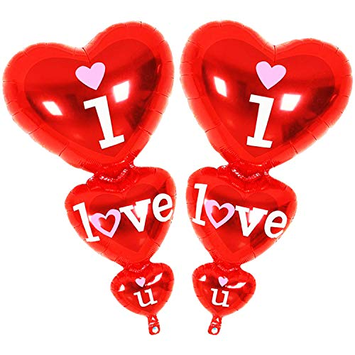 (I Love U Balloon Pack of 2 - Helium Supported - Red Love Heart Balloons - Valentine Day Decorations and Gift Idea for Him or Her - Wedding Birthday Decorations - Ribbon & Straw Included)