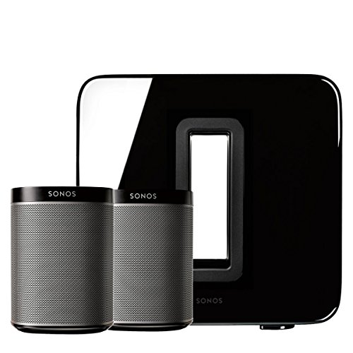 Sonos PLAY:1 (Black, Pair) Multi-Room Digital Music System Bundle & Sonos Wireless SUB (Black) by Sonos
