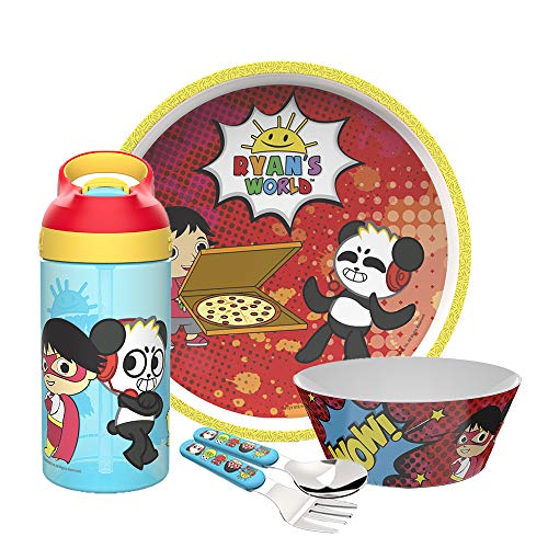 Zak Designs Ryan's World Dinnerware Set Includes Plate, Bowl, Water Bottle, and Utensil Tableware, Made of Durable Material and Perfect for Kids (Ryan and Combo Panda, 5 Piece set, BPA Free)