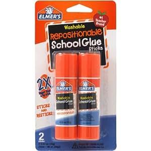 ELMERS Repositionable School Glue Sticks, 0.53 Oz Each, 2 Sticks Per Pack (E627)
