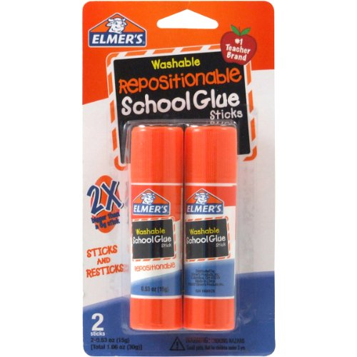 Elmer's Repositionable School Glue Sticks, 0.53 oz Each, 2 Sticks per Pack (E627)