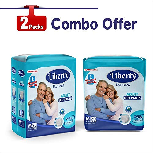 Liberty Eco Adult Diaper Pants Unisex, Medium 2×20 Pcs, Waist Size (61-115 cm | 24-45 Inches) (Pack of 2)