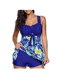 Women's Plus Size Swimsuit Retro Two Piece Ruched Tankini Swimwear L-XXXL