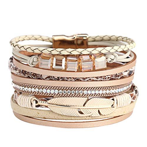 (Leather Wrap Bracelet Multi Rope Boho Bracelets Cuff Bracelets Baroque Pearls Handmade Bohemian Jewelry for Women)