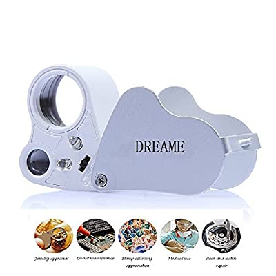 DREAME 30X 60X LED Lighted Illuminated Jewelers Eye Loupe Jewelry Magnifier for Gems Jewelry Rocks Stamps Coins Watches Hobbies Antiques Models Photos by DREAME