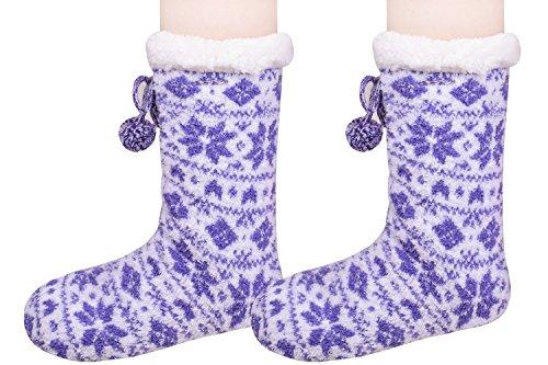 Womens Winter Ankle Slipper Socks Warm House Shoes Soft Plush Boot Sweater Socks Purple GTPN1YWFuR