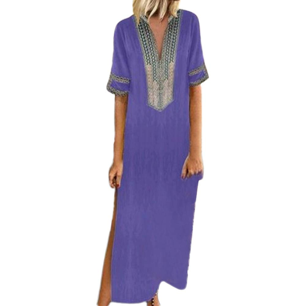 Shusuen Women Bohemian Casual Loose Vintage Printed Ethnic Style Summer Shift Dress Short Sleeve Split Maxi Tunics Purple by Shusuen_Clothes