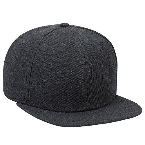 (an Ottocap Heather Wool Blend Twill Round Flat Visor, Six Panel Pro Style Snapback Hat -Heath. Black)