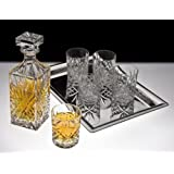 DUBLIN CRYSTAL 8 PIECE WHISKEY SET - Includes One Decanter, 6 DOF Glasses, and one Silver Plated Tray.