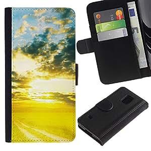 Ihec-Tech / Flip PU Cuero Cover Case para Samsung Galaxy S5 V SM-G900 - Nature Beautiful Forrest Green 72