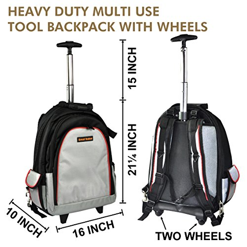 Premium tool backpack,backpack,tool bag,heavy duty trolley tool backpack,tool backpack with wheels,1 Piece, Tool Bag Perfect Storage & Organizer for a Contractor, Electrician, ()