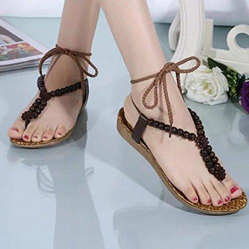 Flip Dames Sandales Toe Flops Marron Été Filles Clode® Sandales Sandalettes Perles Peep La De Mode Bohême 0Bqwn0CU