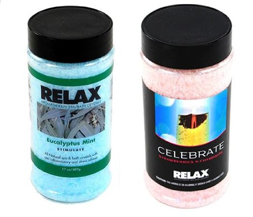 - Eucalyptus Mint & Strawberries N Champagne Aromatherapy Bath Salts-17 Oz Bottles-Hot Tub Spa Jacuzzi Scented Accessory Crystals