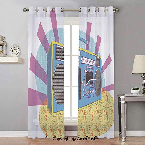1970s Sheer Semi - 70s Party Decorations Semi Sheer Curtains Room Thermal Insulated Curtain Panels Grommet for Living Room,42x108 Inch Retro Boom Box in Pop Art Manner Dance Music Colorful Composition Decorative