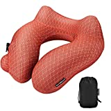 Inflatable Travel Neck Pillow & Storage Bag –Neck & Lumbar Support Cushion for Traveling, Office & Home Use –Comfortable Ergonomic Design, Soft Washable Cover& Automatic Inflation/Deflation Orange