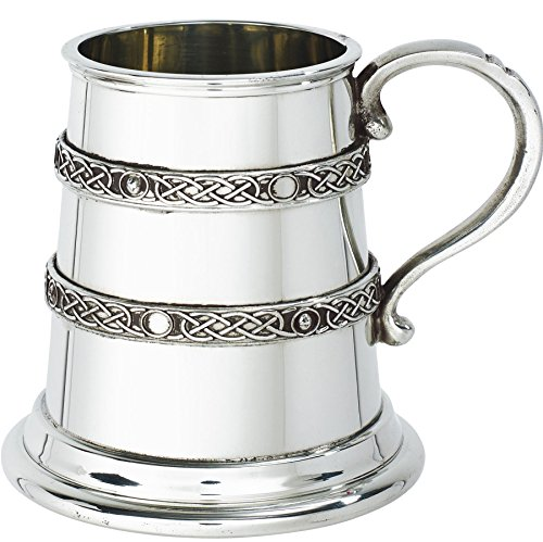 Pewter Christening Cup - iLuv Christening Gift Tankard 1/4 Pint Raised Double Celtic Band Baby Mug Pewter Cup Engraving Available