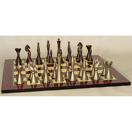 Brass Art Deco Chess Set With Red Decoupage Board