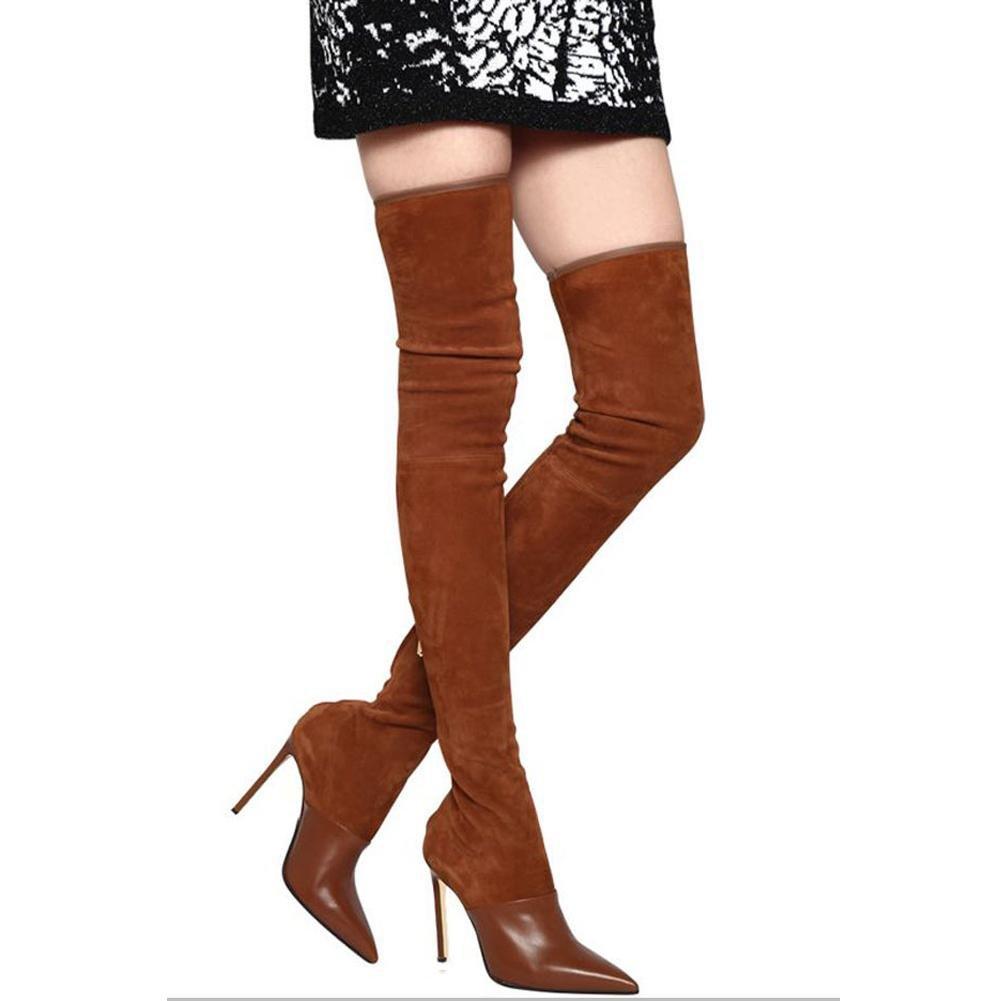 Elegant high schuhe Damen Schuhe Schuhe Schuhe Wildleder Comfort Neuheit Stiefel Spitz Kniehohe Stiefel Office & Karriere Kleid/Braun/Schwarz Braun e466d8