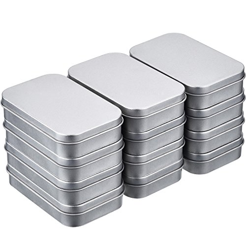 Shappy 12 Pack 3.75 by 2.45 by 0.8 Inch Silver Metal Rectangular Empty Hinged Tins Box Containers with Lids Mini Portable Box Small Storage Kit, Home -