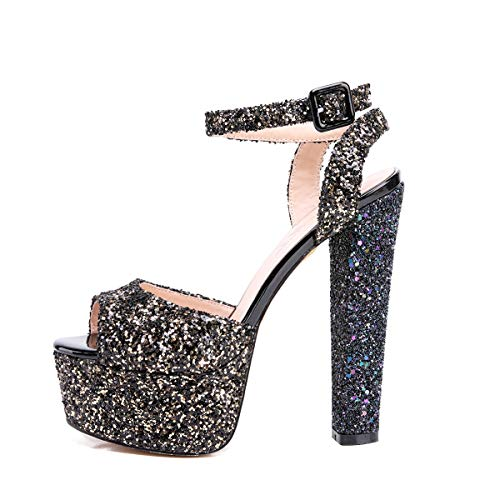 Onlymaker Women's Glitter Platform Sandals Ankle Strap Peep Toe Chunky Heel Dress Party Shoes Gold 7 M US ()