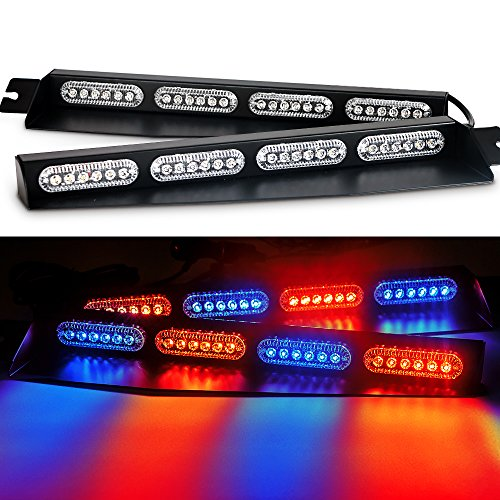 (8X6 LED Emergency lights for vehicles Visor Strobe Police Whelen lights with 15 Different Flashing Last pattern memory recall(Red/Blue/Red/Blue))
