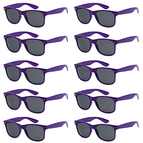 WHOLESALE UNISEX 80'S STYLE RETRO BULK LOT SUNGLASSES (Psychedelic Purple, Smoke) (Purple Sunglasses)