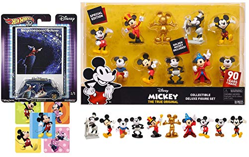 "Gold Mickey Figures 10 Pack 3"" Disney + Hot Wheels Car Pop Culture Fantasia Card Art + Mickey Mouse & Minnie Sticker 3 Item Bundle Sorcerer"