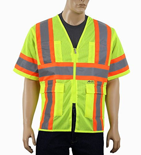 Safety Depot Class 3 ANSI ISEA Approved 6 Pocket Safety Vest Breathable High Visiblity M7148 (Lime, Medium)