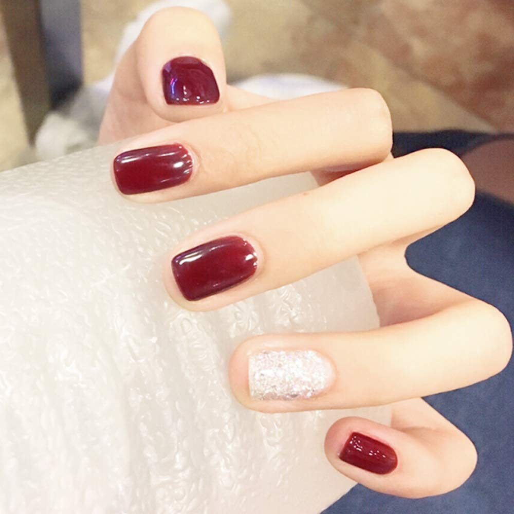 Amazon.com : JINDIN 24 Sheet Deep Red Short Fake Nails