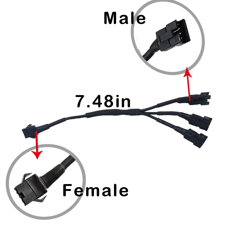 NBWDY 2Pcs 19cm Extension Cable Wire Cord Set 2 Way Splitter Y Cable for LED motorcycle Light Multi-color Neon Strip 2 x 2 Way Splitter Y Cable