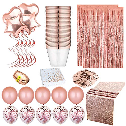 Rose Gold Party Decorations-Sequin table Runners-Rose Gold Napkins- Elegant Rimmed Cups-Rose Gold confetti Ballons-Confetti Table-Foil curtain Photo Booth Backdrops-Lets Create!