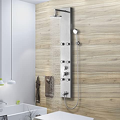 Vantory 59'' Stainless Steel Shower Panel System Faucet Rainfall with 6 Adjustable Massages Jets,Hand Shower and Tub Spout,Brushed - 6 Jets Massage Shower Panel