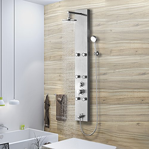 Vantory Shower Panel System Stainless Steel Rainfall with 6 Adjustable Spray Massages Jets,Hand Shower and Tub Spout,Brushed Nickel