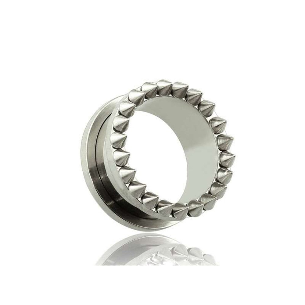 Dynamique Pair Of 316L Surgical Steel Spike Screw Fit Tunnels