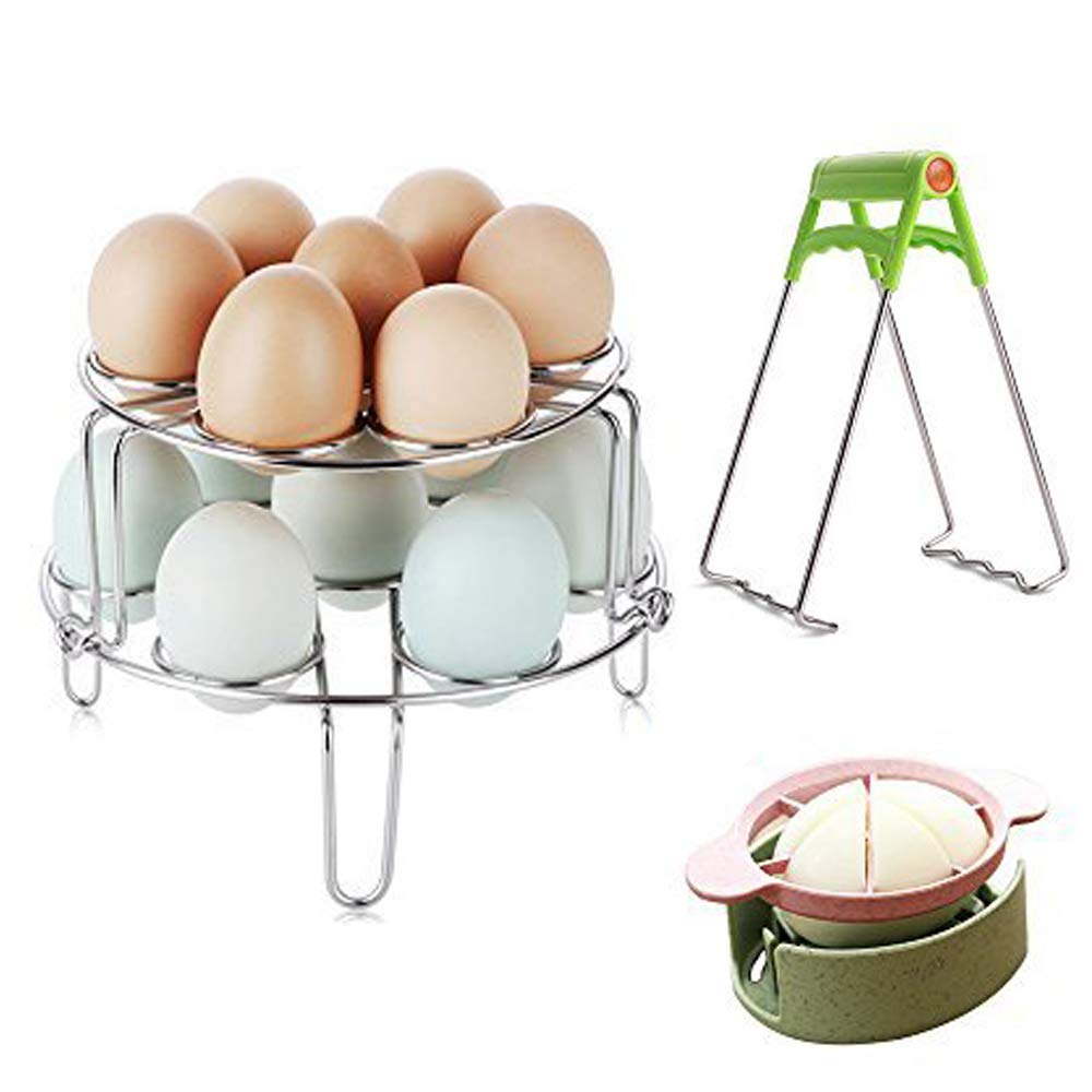 2-Pack Stainless Steel Egg Stackable Steaming Rack Trivet for Instant Pot Accessories/Pressure Cooker, with Egg Slicer and Bowl Clip