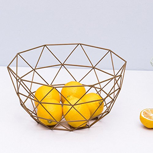Euro Antique Simple Art Fresh Fruit Container Dry Steel Metal Basket Iron Wire Organizer Vegetable Rack Storage Tray Holder Table Snack Bowl Artificial Display Cool Gift Round Tiered (Vintage gold) by YAKU