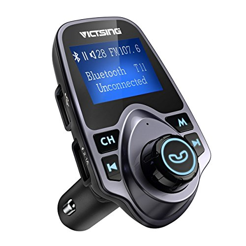 "VicTsing Bluetooth FM Transmitter for Car, Wireless Bluetooth Radio Transmitter Adapter with Hand-Free Calling and 1.44"" LCD Display, Music Player Support TF Card USB Flash Drive AUX Input/Output (Fm Mp3 Adapter)"