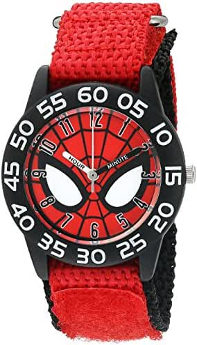 Marvel Boy's 'Spider-Man' Quartz Plastic and Nylon  Watch, Color:Red (Model: W003252)