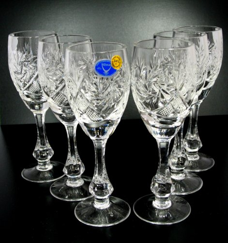 Crystal Glass Sherry Glass - SET of 6 Russian CUT Crystal Shot/sherry Glasses on a Long Stem 70ml/2.4oz Hand Made