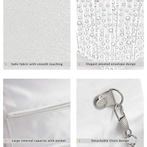 Milisente Clutch Purses for Women evening Glitter Wedding Purse Crystal Envelope Clutches Shoulder Bags (White) by Milisente (Image #3)