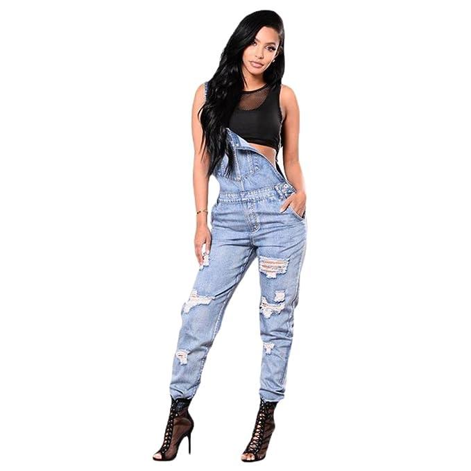 914c7f263 WanYang Mujeres Overalls Denim Jeans Moda Casual Strench Pantalones  Tirantes Jeans Rotos para Mujer  Amazon.es  Ropa y accesorios