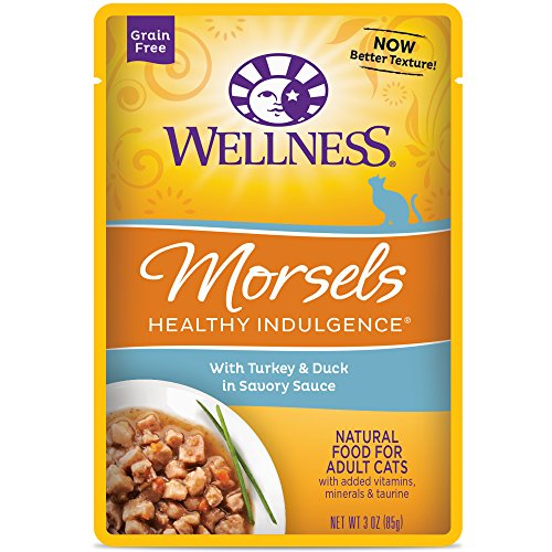 Wellness Healthy Indulgence Natural Grain Free Wet Cat Food, Morsels Turkey & Duck, 3-Ounce Pouch (Pack Of 24) (Best Healthy Cat Food Brands)