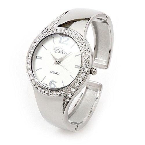 Silver Metal Band Crystal Bezel Luxury Women's Bangle Cuff Watch - Time Cuff Watch