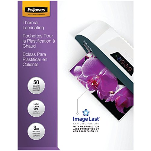 Fellowes Thermal Laminating Pouches, ImageLast, Letter Size, 3 Mil, 50 Pack (52225)