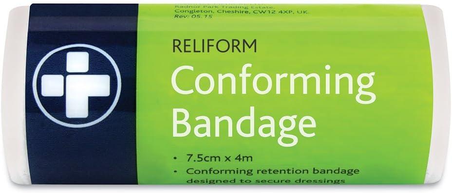 Pack de 10 vendas Reliform de Reliance Medical de 400 x 5 cm, color blanco