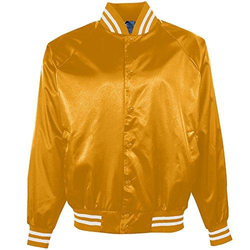 - Augusta Sportswear Men's Satin Baseball Jacket/Striped Trim L Metallic Gold/White