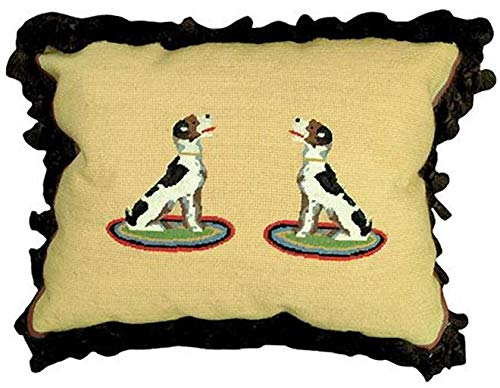 EuroLuxHome Throw Pillow Needlepoint/Petit Point Hound Dog Oval 16x20 Chocolate Brown